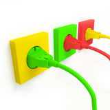 Plug and socket. Colorful plug and socket on white vector illustration