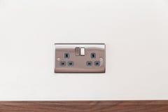 Plug socket. Chrome double plug socket 240v stock photography