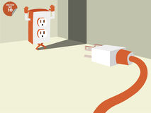 Plug stalemate the socket into the conner of room Stock Photography