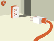 Plug stalemate the socket into the corner of room Stock Photos