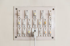 Plug and switches board on the wall`s house in Kolkata, India. royalty free stock photography