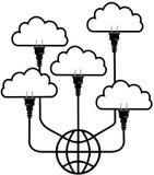 Plug technology into Global Cloud Computing. Plug in SaaS technology up to global cloud computing platform Stock Image