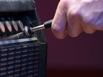 Plugged. Into guitar the amplifier, closeup, for music,entertainment themes stock photo