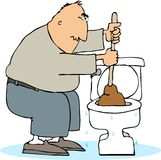 Plugged toilet. This illustration that I created depicts a man using a plunger on a plugged toilet Stock Image