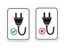 Plugged and un-plugged signs. Suitable for user interface Stock Images