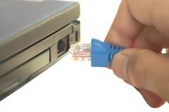 Pluggin στο καλώδιο δικτύων Στοκ Εικόνα