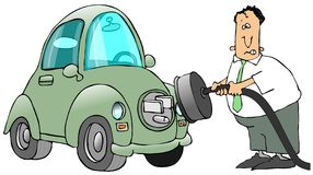 Plugging In An Electric Car Stock Images