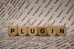 Plugin - κύβος με τις επιστολές και λέξεις από τον υπολογιστή, λογισμικό, κατηγορίες Διαδικτύου, ξύλινοι κύβοι Στοκ φωτογραφία με δικαίωμα ελεύθερης χρήσης