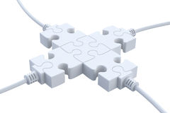 Plugs. 3D concept with jigsaw puzzle over white background Royalty Free Stock Image