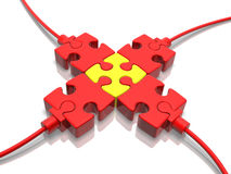 Plugs. 3D concept with jigsaw puzzle over white reflective background Stock Photo