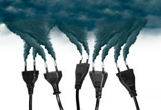 Plugs ejecting smoke - Pollution concept stock images