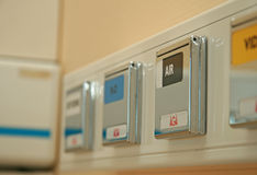 Plugs in a hospital. Plugs for air, vacuum and oxygen in a hospital Royalty Free Stock Photo