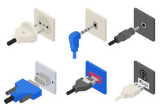 Plugs icons, isometric 3d vector. Power and electric, usb socket, connection cable, connect wire, connector vga. Vector illustration Royalty Free Stock Photo