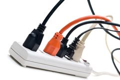 Plugs In A Power Strip Stock Images