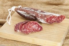 Plugs of salami Royalty Free Stock Photo