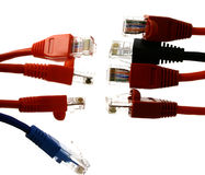 Plugs together. Some colorful RJ45 endings against each other on the white back ground Stock Images