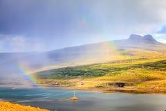 Pluie au-dessus des fjords Photos libres de droits