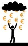 Pluie avec l'euro Image libre de droits