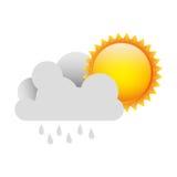 pluie blanche de nuage avec le soleil illustration stock