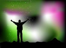 Pluie d'étoile, homme heureux illustration de vecteur