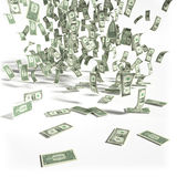 Pluie d'argent des billets d'un dollar 1 Photo stock