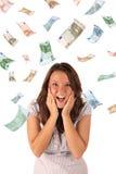Pluie d'argent (euro billets de banque) Images libres de droits