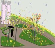 Pluie d'automne dans le paysage de ville illustration libre de droits