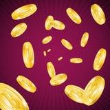 Pluie d'or détaillée réaliste de 3d Bitcoins Vecteur Photographie stock libre de droits