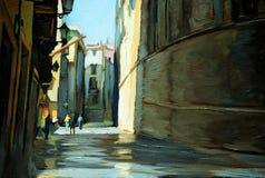 Pluie dans le quart gothique de Barcelone. peinture illustration stock