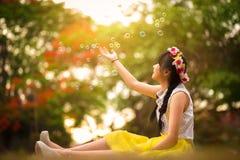 Pluie de bulle de savon Photo stock