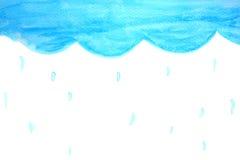 Pluie de ciel bleu dans le watercolour Photos libres de droits
