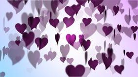 Pluie de coeur de rose de jour de valentines banque de vidéos