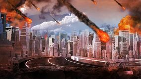 Pluie de météores au-dessus de la ville Images libres de droits