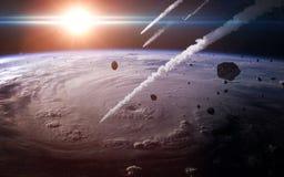 Pluie de météores dans l'atmosphère terrestre Éléments de cette image meublés par la NASA Images stock