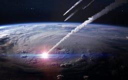 Pluie de météores dans l'atmosphère terrestre Éléments de cette image meublés par la NASA Photographie stock