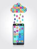 Pluie des apps mobiles : l'application l'a téléchargé et a installé sur le smartphone du nuage illustration libre de droits