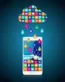 Pluie des apps mobiles : les applications sous forme de baisses les ont téléchargé et ont installé sur le smartphone du nuage illustration de vecteur