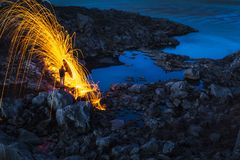 Pluie du feu en Islande Photos stock