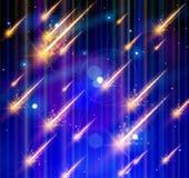 Pluie, espace et étoiles de météore Photos libres de droits