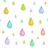 Pluie iridescente L'ensemble de couleur chute pour la conception sur un fond blanc Retrait d'aquarelle Travail manuel Configurati Images libres de droits