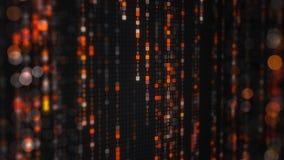 Pluie orange de matrice de code numérique de SORTILÈGE avec le bokeh Images stock