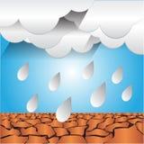 Pluie sur la terre sèche Photos stock