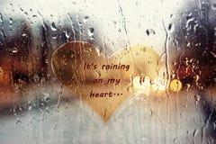 Pluie sur mon coeur Images stock