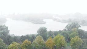 Pluie, vent et brouillard sur la rivière entourée par des arbres Zones urbaines banque de vidéos