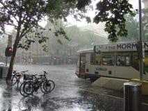 Pluie violente à Melbourne Photographie stock libre de droits