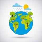 Pluies d'arbres de la terre du monde et heure d'été Photos libres de droits