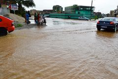 Pluies diluviales : zones identifiées de risque à Abidjan Photos libres de droits