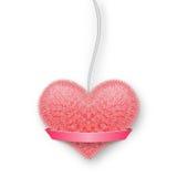 Pluizig roze hart op een kabel met een banner voor uw tekst Royalty-vrije Stock Fotografie