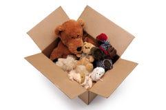 Pluizig speelgoed in een doos royalty-vrije stock foto's