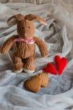 Pluizig stuk speelgoed konijntje met gevoelde harten en koekjes in de vorm van hij Stock Fotografie